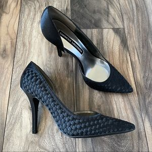 Chinese Laundry pointed satin woven black pumps